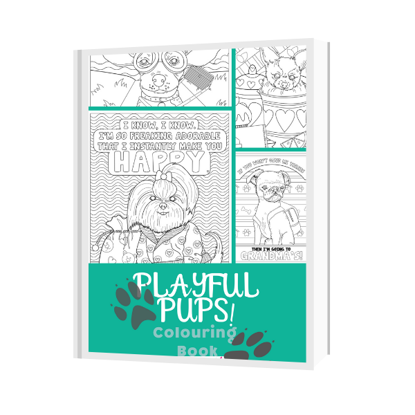 Playful Pups Colouring Book